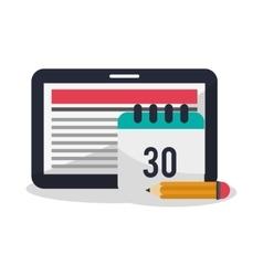Tablet calendar pencil and blog design vector
