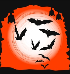 Halloween background - flying bats in full moon vector