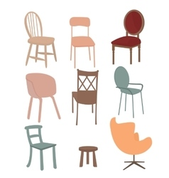 Chairs armchair furniture icon set flat interior vector