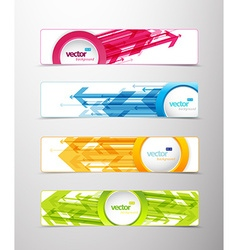 Set of four horizontal banners with arrows and vector