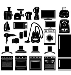 Set of black icons of household appliances vector
