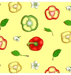 Paprika sweet pepper seamless background vector
