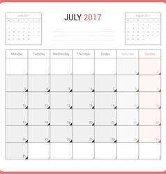 Calendar Planner for July 2017 vector image