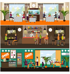 Set of pub and restaurant concept posters vector