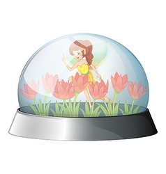 A dome with a fairy in the garden inside vector