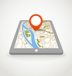 Modern gadget with abstract city map vector image