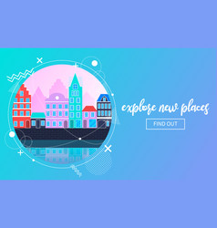 Travel banner with an urban landscape vector