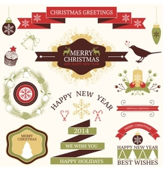 Collection of graphic elements for christmas and vector