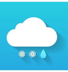 Day cloud snow flakes and rain drop isolated on vector