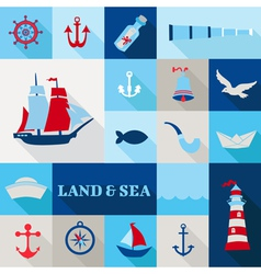 Set of nautical vintage elements vector