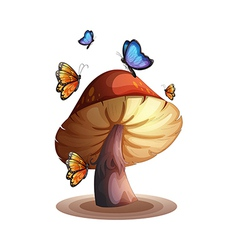 A big mushroom with butterflies vector