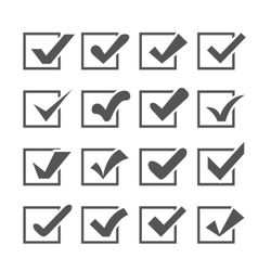 Set of different check marks or ticks in boxes vector