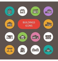 Set of flat design buildings pictograms vector