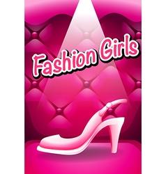 Pink high heel in spotlight vector