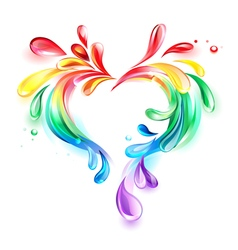 Heart of rainbow drops vector