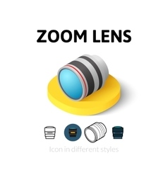 Zoom lens icon in different style vector