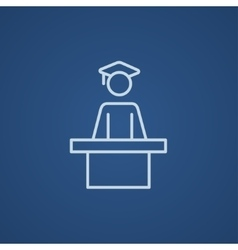 Graduate standing near tribune line icon vector