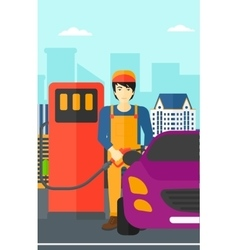Man filling up fuel into car vector