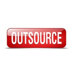Outsource red square 3d realistic isolated web vector