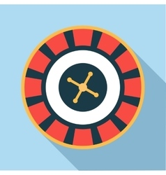 Casino roulette wheel icon flat style vector