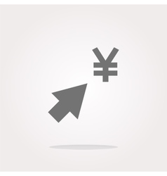 Yen currency symbol and arrow web button icon vector