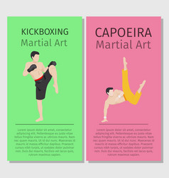Asian martial arts kickboxing and capoeira vector