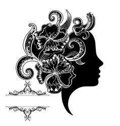 beautiful girl face with ornate and frame vector image vector image