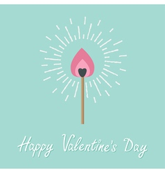 Burning love match with pink fire light shining vector image