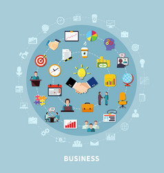business pictograms round composition vector image vector image