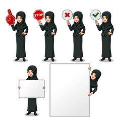 Businesswoman with veil holding sign board vector