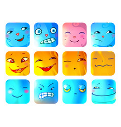 cartoon funny monster faces set vector image