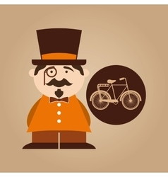 character male hipster bicycle vintage vector image