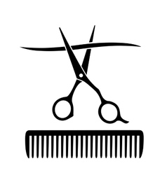comb and scissors cutting strand of hair vector image vector image