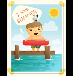 Enjoy tropical summer holiday with little boy 4 vector