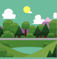 flat of nature landscape vector image