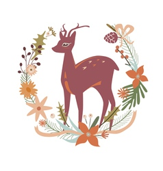 Floral design with deer vector