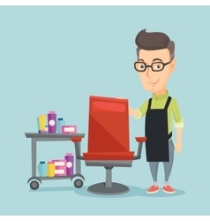Hairdresser at workplace in beauty salon vector image vector image
