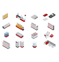 Isometric set elements for super market vector