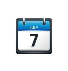 July 7 Calendar icon flat vector image vector image