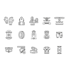 Longboarder accessories thin line icons vector