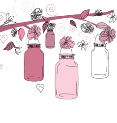 Mason jar flower scene vector