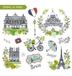 Paris springFamous landmarksfloral decor set vector image vector image