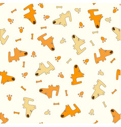 Pattern with cartoon dogs vector