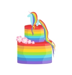 Rainbow and unicorn gay pride color cake decorated vector