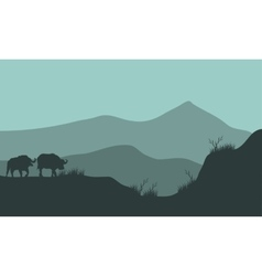 Scenery bison silhouette in hills vector