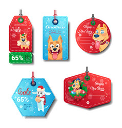 set of new year sale tags decorated with dogs on vector image