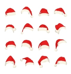 Set of red santa claus hats vector