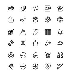 Sewing line icons 1 vector