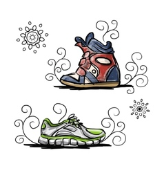 Sneakers sketch for your design vector image vector image