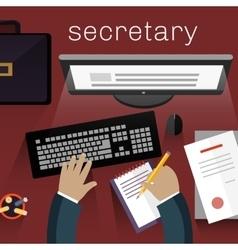 Workspace Secretary Design Flat vector image
